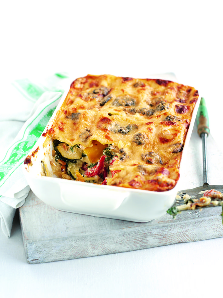 This vegetarian lasagne recipe uses summer vegetables, including courgettes and roasted red peppers, for a tasty meat-free pasta bake.