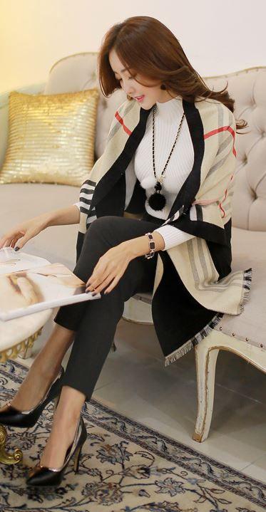 StyleOnme_No. 34732 #scarf #checkpattern #shawl