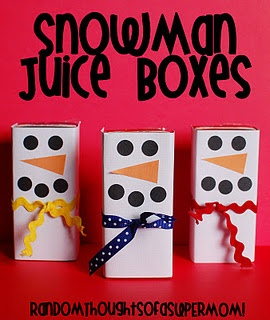 This gives me a craft/snack idea for the kids!  Take a full juice box, take out the straw and punch it in the hole. Then wrap white paper around the sides. Next, put on little stickers to make the face and then voila! They can drink from a snowman!