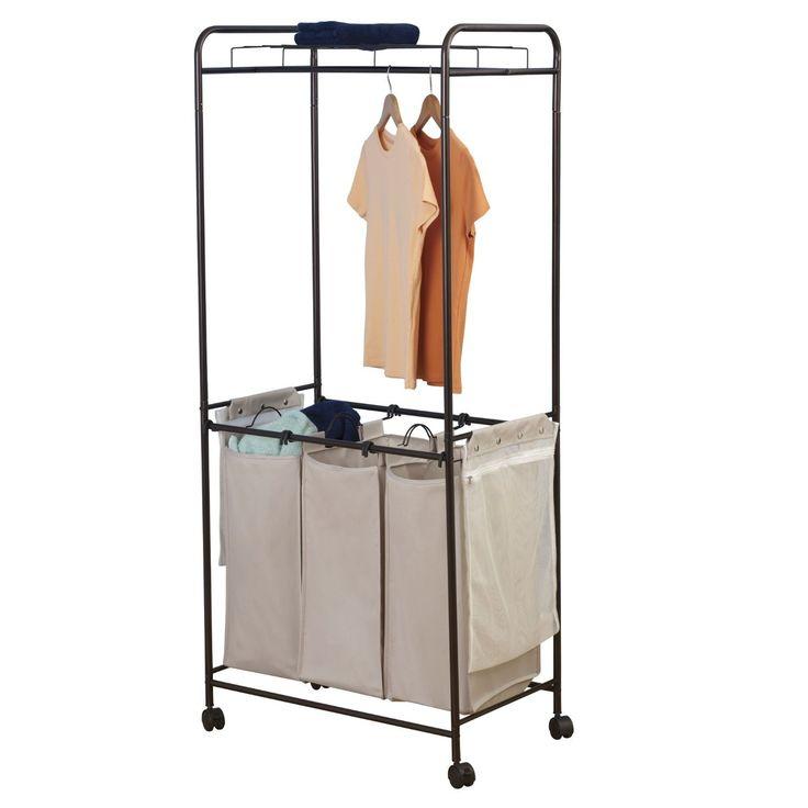 Laundry Center med 3 tvättkorgar - Bronze / Beige