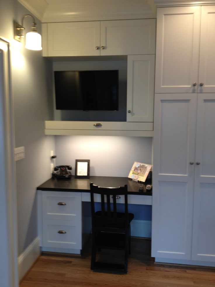1920s Portland Kitchen View Of Kitchen Desk From Corner Banquette Desk With  Honed Black Granite Top And Custom White Cabinets 32 Inch Samsung 3D Smart  TV ...