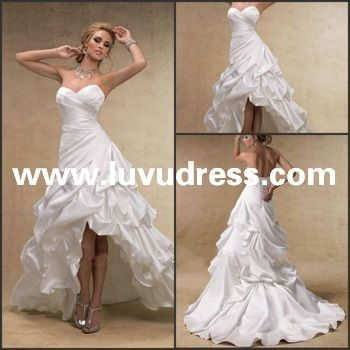2013 Sexy Sweetheart Pleat Satin Ruffle Front Short And Long Back Wedding Dress