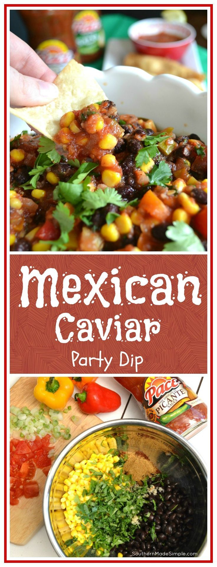 If you're looking to spice up your game day dip, you'll definitely want to try this Mexican Caviar dip! It comes together in minutes and it's SO delish!
