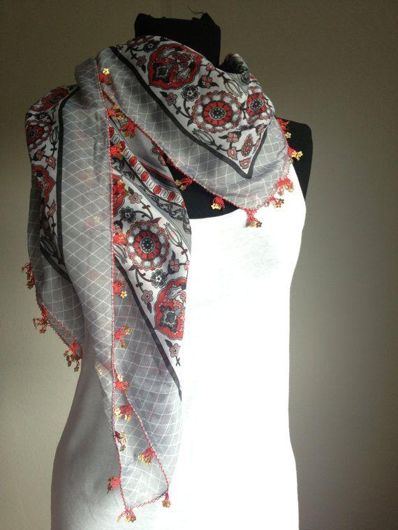 Yemeni scarf Oya lace scarf Crochet scarf Anatolian by katnosia, $14.99