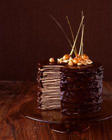choc crepe cake: Desserts, Layered Cakes, Crepes Cakes, Darkest Chocolates, Marthastewart, Crepe Cake, Cakes Recipes, Martha Stewart, Chocolates Crepes