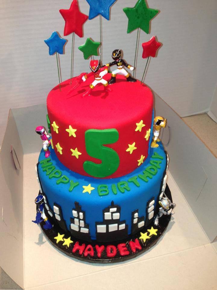 Power Ranger Birthday Cake - Two tiered fondant Power Ranger Birthday Cake.