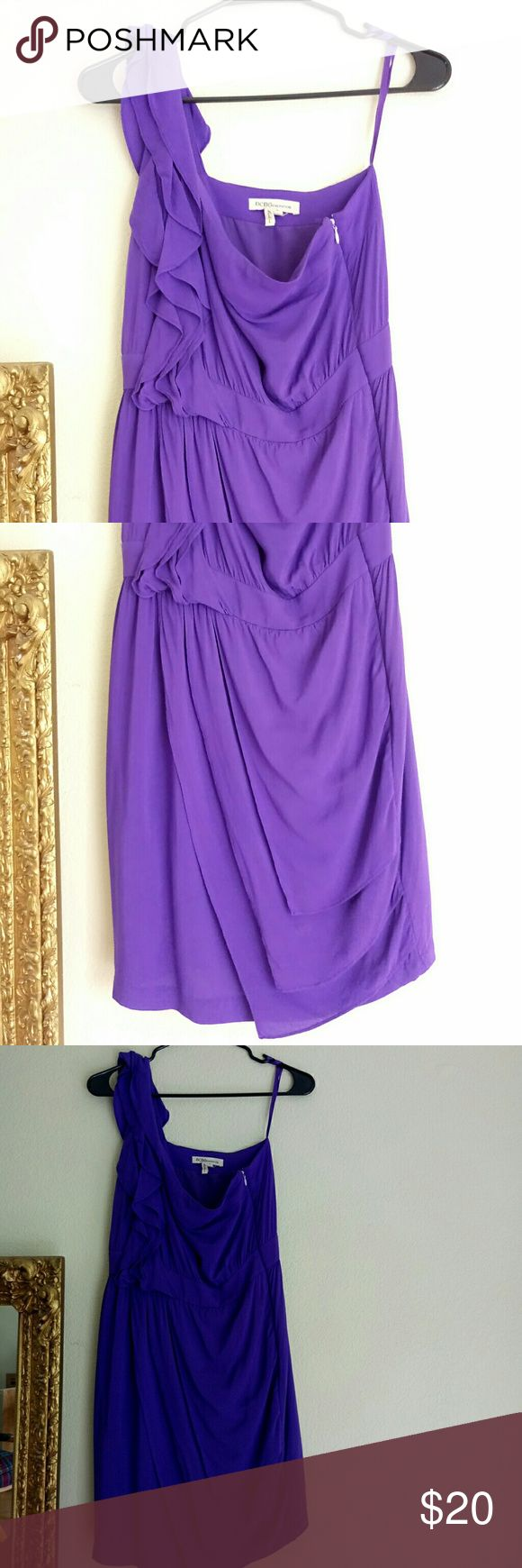 Cute Purple Mini Dress This dress is lightly used,  rich purple color,  one shoulder, with a wrapped skirt look BCBGeneration Dresses One Shoulder