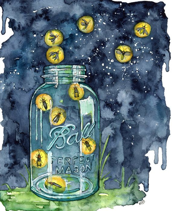 "Watercolor Firefly Jar Print - Painting titled, ""A Summer Night"", Lightning Bug, Firefly Decal, Firefly Art, Night Sky Print, Mason Jar"