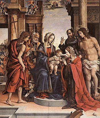 """Filippino Lippi  """"Matrimonio mistico di Santa Caterina di Alessandria"""" , 1501 , olio su tavola , cappella Isolani a destra dell'altare maggiore , basilica di San Domenico, Bologna"""