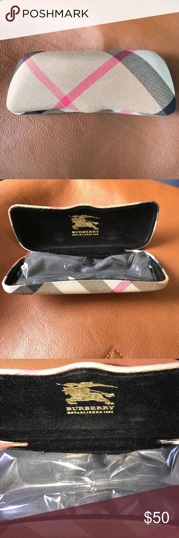 New Burberry Eyeglass Case with Cloth Beautiful traditional Burberry plaid Eyeglass case with black Burberry cleaning cloth. Burberry Accessories Glasses
