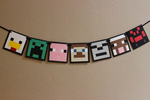 Minecraft inspired really cute banner, use as a room decoration or just for a party. on Etsy, $39.02 CAD