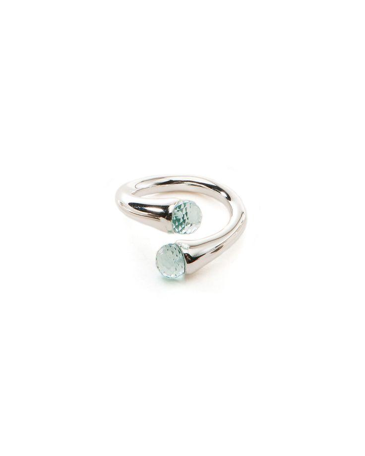 Blue Topaz Color Drop Silver Ring - JewelMint
