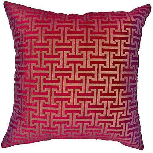 Burgundy Color Decorative Pillows : Chenille Chateau Vintage Floral Design 18