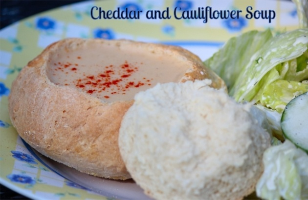 Cheddar and Cauliflower Soup in Bread Bowls from Daily Dish Recipes