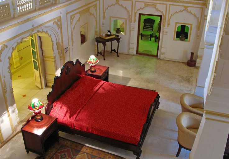 The Rani's (Queens) bedroom - now a suite for hire in Roopangarh Fort, Rajasthan.