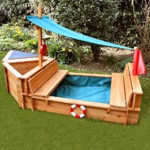 sand box with lid that folds into benches made into a BOAT!!! So cool!!!