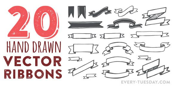 This week's freebie is a set of 20 hand drawn vector ribbons! Download includes all twenty as an ai + eps file for versions of Adobe Illustrator, CS3 or newer.