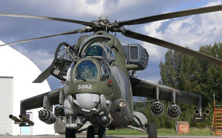 Aviones Caza y de Ataque:     Mil Mi-24 Hind   Tipo Helicóptero de ataque  y transporte de tropas Fabricante Bandera de Rusia - Mil Primer vuelo 1969 Introducido 1972 Estado En servicio Usuarios principales   Fuerza Aérea Soviética  Fuerza Aérea Rusa Fuerza Aérea de la RDA  Fuerza Aérea Húngara  Fuerza Aérea Cubana N.º construidos Más de 2000