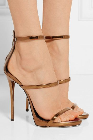 afec7c9af126 Heel measures approximately 120mm  5 inches with a 10mm  0.5 inches  platform Bronze leather Zip fastening along back Made in ItalySmall to size.