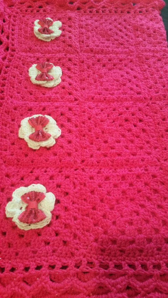 afghan bubble gum pink pram blankets soft by GrannyblanketsShop