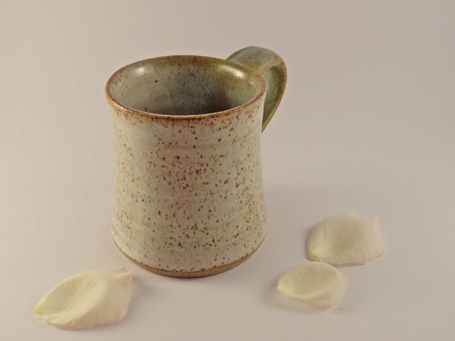 Green and cream ceramic mug - handmade stoneware pottery