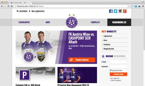 Auf Basis der von echonet entwickelten Ticketing-Portale mit Anbindungen an SAP Ticketing wurde für den Fußballklub Austria Wien ein Ticketshop errichtet.