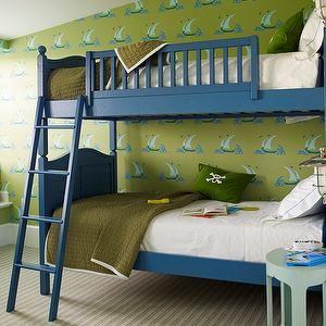 Katie Ridder - boy's rooms - blue and green boys rooms, blue and green boys bedrooms, blue bunk beds, blue ladders, blue bunk bed ladders, boys beds, boys bunk beds, boys bunk bed ladders, army green quilts, boys quilts, stitched bedding, boys bedding, bedding with stitching, white hotel bedding, window seats, boys window seats. boys bedroom window seats, boys wallpaper, boys bedroom wallpaper, green and blue wallpaper, sailboat wallpaper, green and blue sailboat wallpaper,
