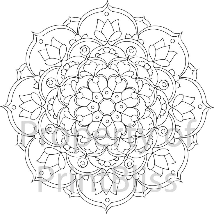 flower mandala printable coloring page by printbliss on etsy more - Mandalas Coloring Pages Printable