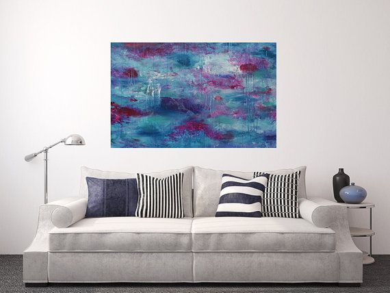 Secret Garden  Large Abstract Original Painting  by sarahsmileart #sarahsmile #art #etsy #blue #pink