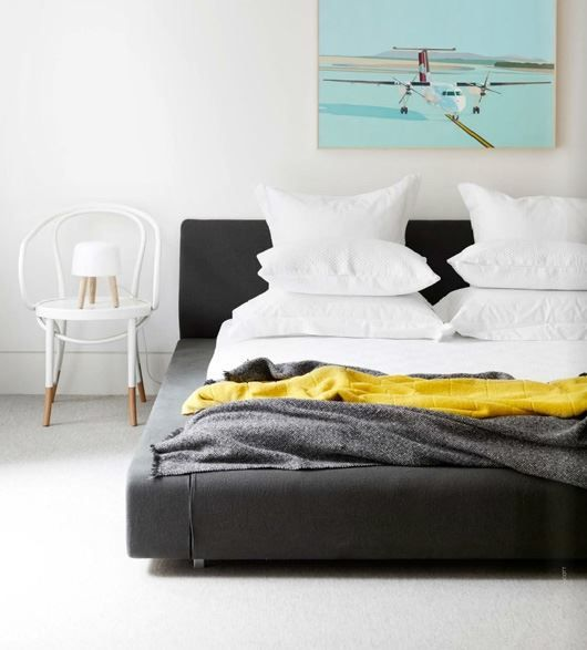 Contemporary Bedroom with Bold Yellow Accents