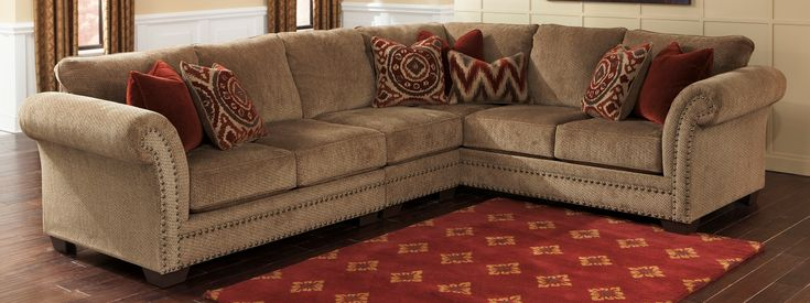Interesting Ashley Furniture Sectional For Modern Family Room Design: Ashley Furniture Sectional With Red Carpet And Brown Sofa For Family Room Design