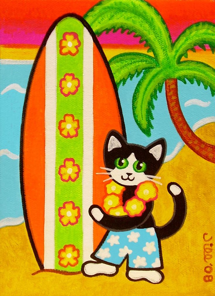 Tropical Tuxedo CAT with SURFBOARD on the Beach Art PRINT from Original Painting by Jill. $8.00, via Etsy.