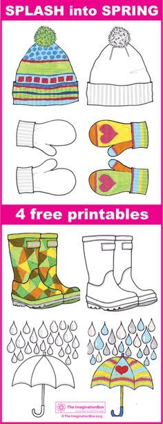 4 Free Spring printables to download. Design and colour your own wellies, umbrella, bobble hat and mittens