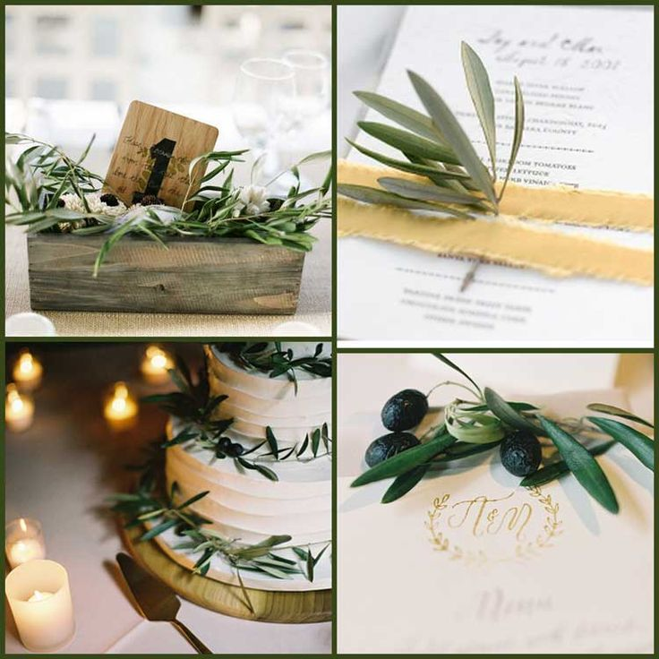 olive-wedding-ideas Way to incorporate entire color scheme on the cake (white cake, black olives and olive branches)