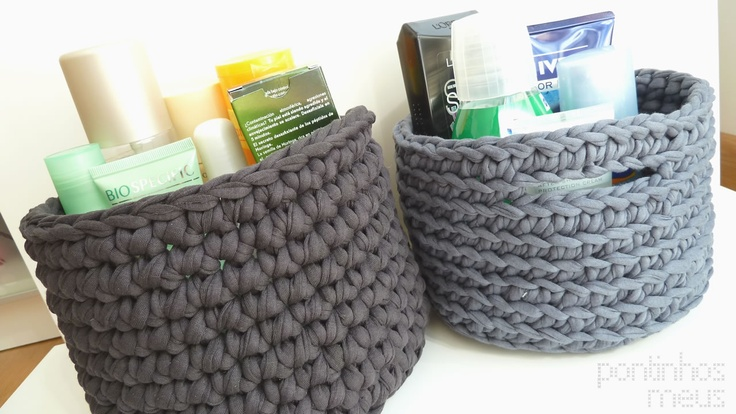 crochet baskets made with recycled cotton