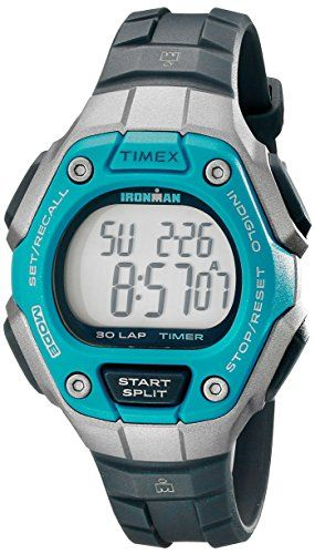 Great gift idea Timex Women's TW5K89300 Ironman Classic 30 Mid-Size Black/Silver-Tone/Blue Resin Strap Watch