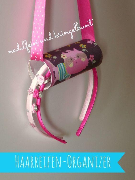 Haarreifenhalter Haarreifenorganizer Organizer Aufbewahrung Haarreifen Basteln Kinder DIY Klopapierrolle Bänder Kind Kinder Mädchen http://nadelfein.blogspot.de: