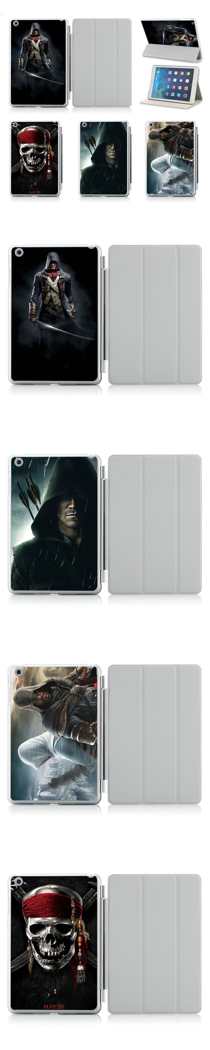 For Apple IPad Air /2 Case Cover Printed Assassins Creed Pattern Protective Case Cover Sleeve With Stand Sleep Wake Function