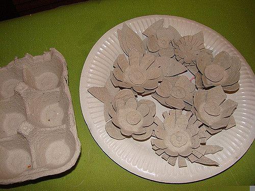 reciclagem de caixas de ovos - flores