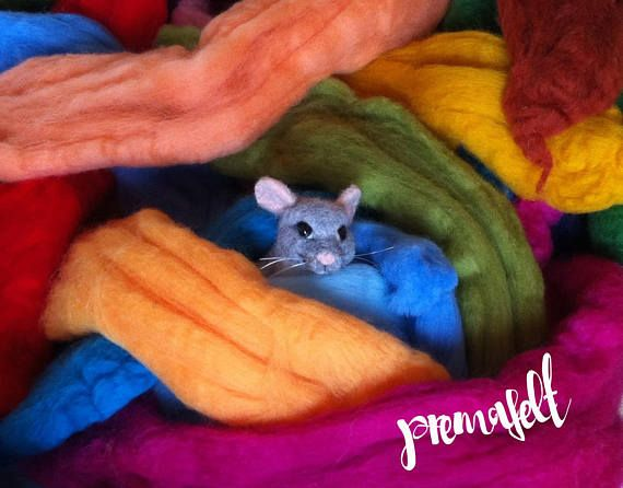 Cute mouse needle felted animal mouse miniature gift