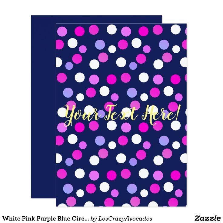 White Pink Purple Blue Circles Balls Invitation