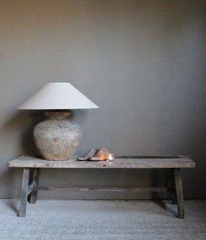 Donker oud houten salontafel/laag muurtafel