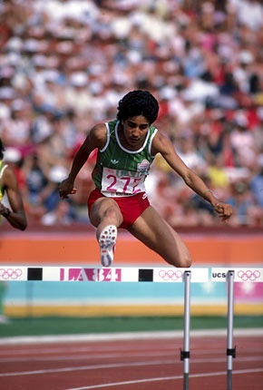 """Olympic medalist Nawal El Moutawakel - The quote of hers I love: """" I have the satisfaction of contributing to the liberation of Muslim women - or rather, of Muslim men, who will have been forced to meditate on my ability."""""""