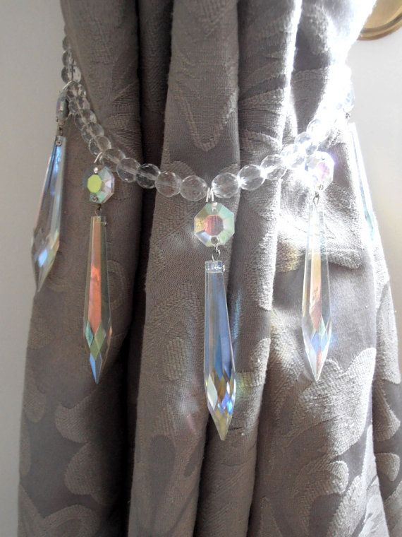 SET OF 2 decorative crystal curtain tiebacks, Swarovski vintage crystals - aurora borealis drapery holders - tie backs curtain