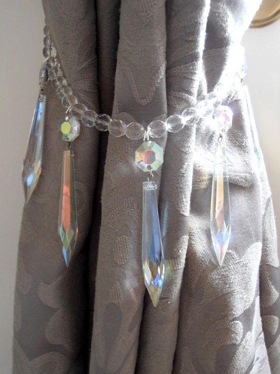 SET OF 2 decorative crystal curtain tiebacks, Swarovski vintage crystals - aurora borealis drapery holders - tie backs curtain