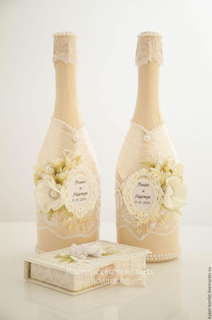 Купить Свадебное оформление бутылок ''Очарование'' - свадьба, свадебные аксессуары, бутылки, бутылки свадебные