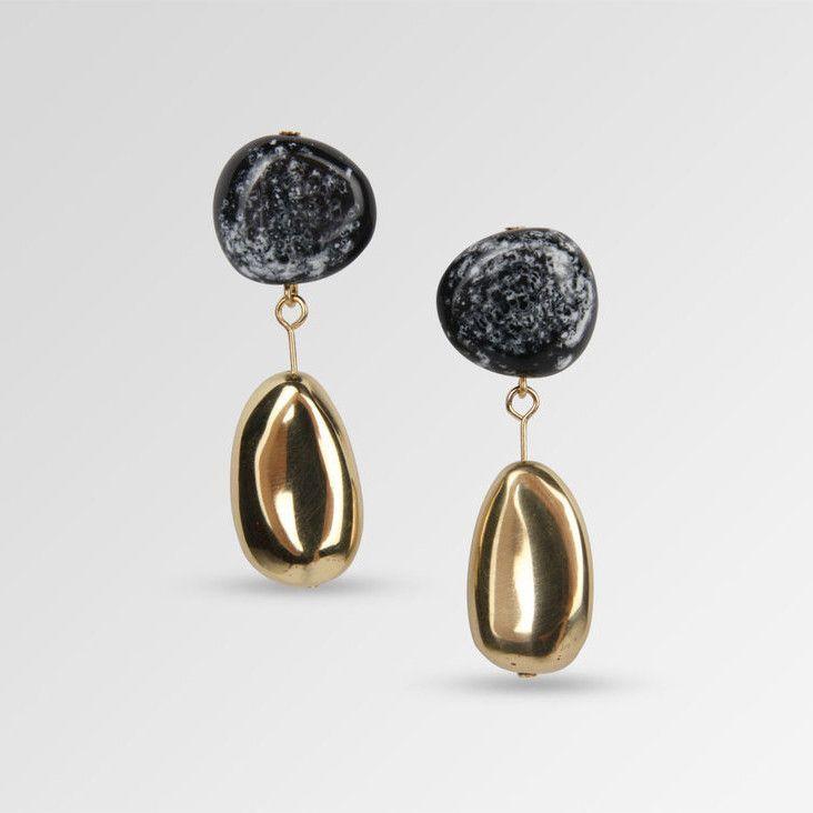 Dinosaur Designs Short Mineral Drop Earrings Black Marble