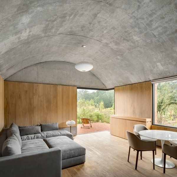Photo 8 Of 13 In Barrel Vaulted Ceilings Cap An Architect S Off Grid In 2020 Living Room Design Modern Barrel Vault Ceiling Home