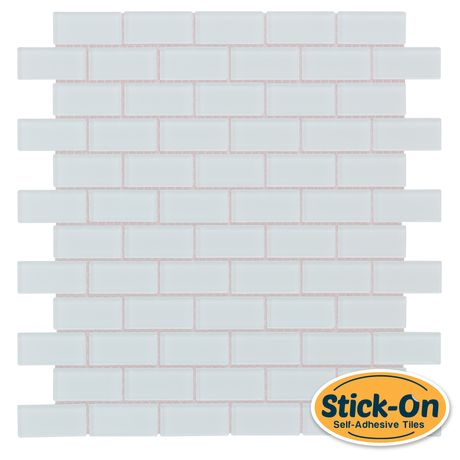 Peel and Stick Subway Glass Mosaic Tile White - this is grouted glass tile, NOT vinyl.