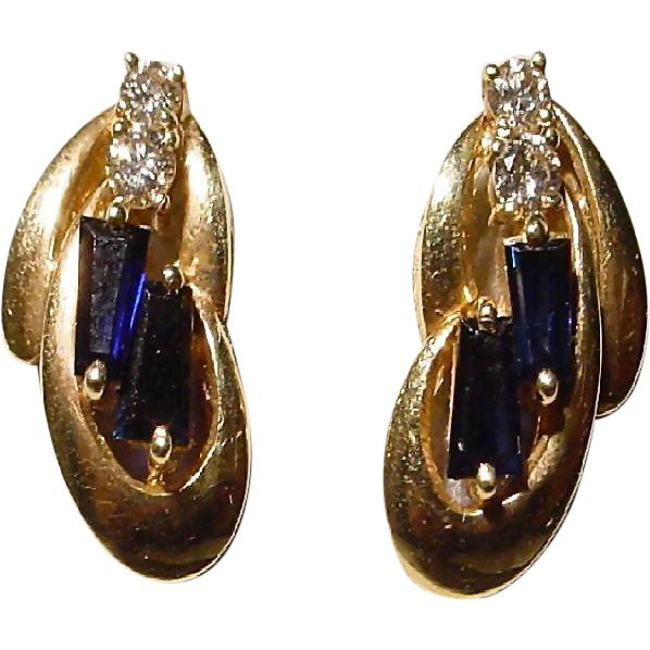 Blue Sapphire & Diamond Earrings 14KT Yellow Gold - Pierce - Vintage Wonders
